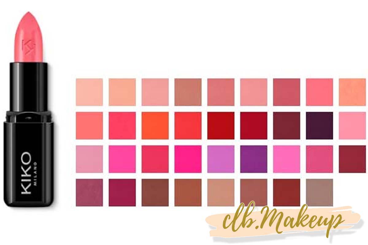 Bảng màu son Kiko Smart Fusion Lipstick rất đa dạng
