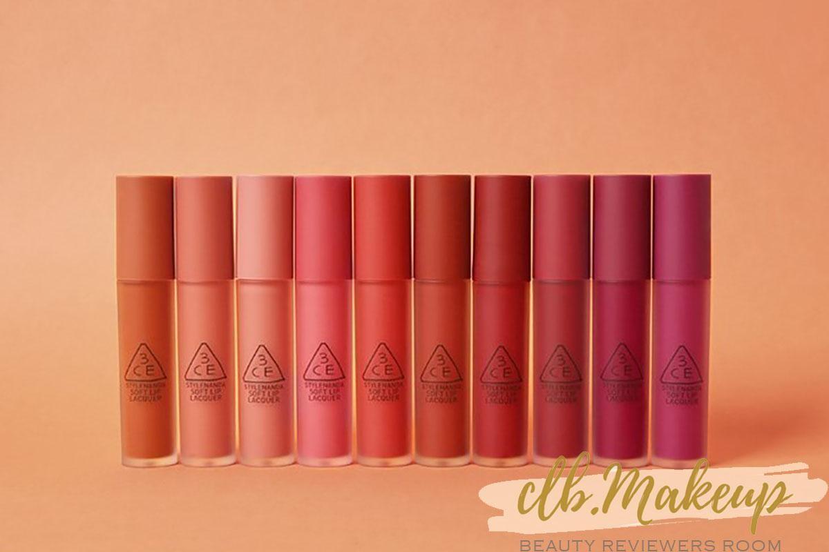 3CE Soft Lip Lacquer gồm 10 màu thời thượng
