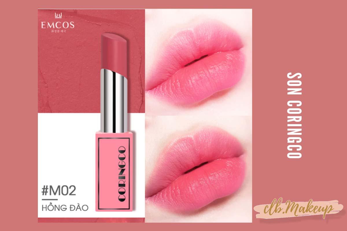 Review son Coringco Cherry Chu Bonny Matte màu hồng đào