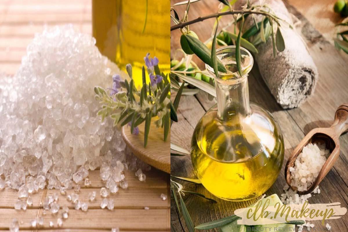 Tẩy tế bào chết da mặt tại nhà bằng muối và dầu ô liu
