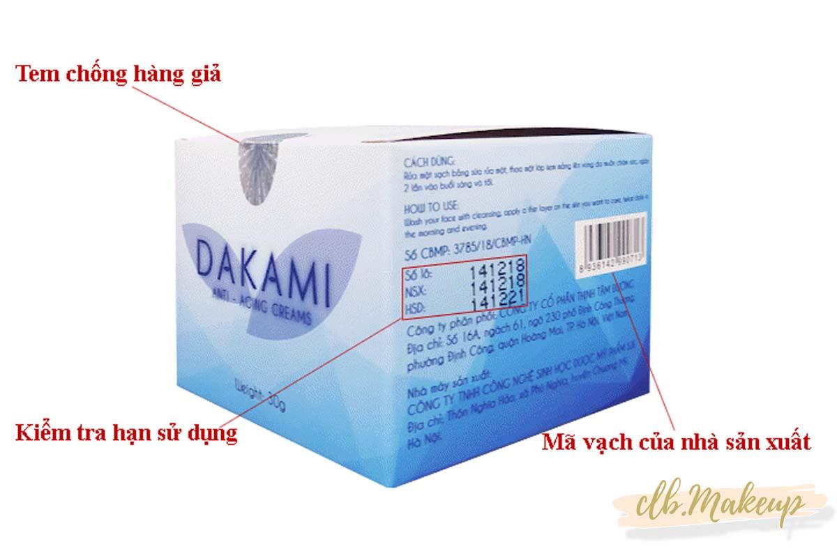 Cách nhận biết kem chống lão hóa Dakami hàng thật