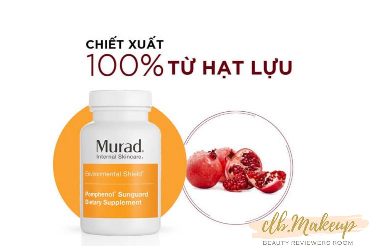 Viên uống chống nắng nội sinh Murad với chiết xuất 100% từ hạt lựu